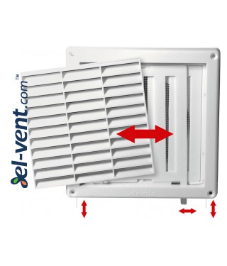 Ventilation grille with shutter GRT55, 165x165 mm, Ø100 mm - Wall vent covers