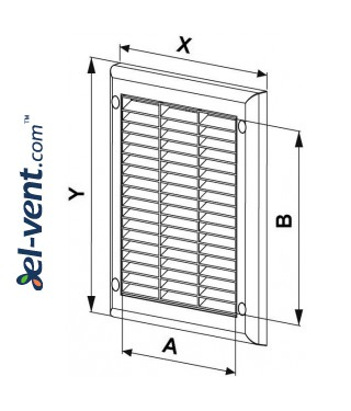 Ventilation grille with shutter GRTK2, 190x190 mm - drawing