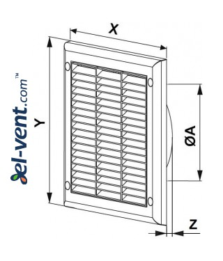 Ventilation grille with shutter GRTK12, 190x190 mm, Ø125 mm - drawing