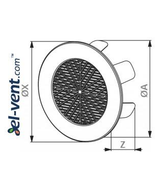 Самозакрепляющие вентиляционные решетки TOK2 Ø99-124 мм, 1
