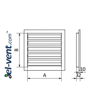 Wall vent grilles galvanized ≤ 600x600 mm - drawing