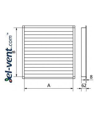 Wall vent grilles galvanized > 600x600 mm - drawing