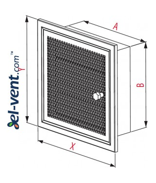 Fireplace grate MK1ANSR 166x166 mm with shutter - drawing