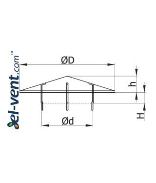 Vent cap VSR140-200 Ø140-200 mm - drawing