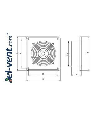 Ašiniai ventiliatoriai Axia ROK ≤20695 m³/h - brėžinys