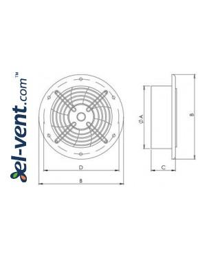 Ašiniai ventiliatoriai Axia ROS ≤20695 m³/h - brėžinys