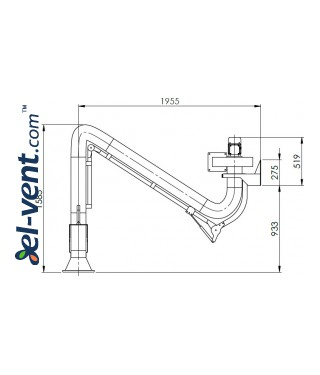 Welding fume extraction system SDNS-055 ≤1000 m³/h - drawing No.3