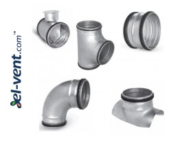 Duct fittings with rubber sealing