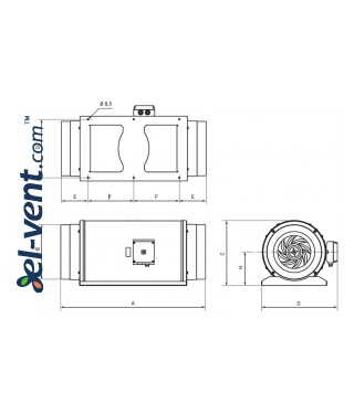 Ultra-quiet circular duct fan TD-2000/315 Silent ECOWATT, Ø315 mm - drawing